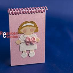 libreta primera comunión niña lazo rosa