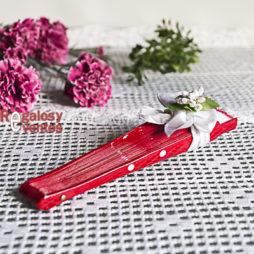 abanico rojo lunares blancos - detalle de boda