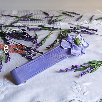 abanico violeta - abanico para boda